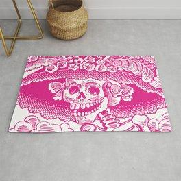 Calavera Catrina   Skeleton Woman   Pink and White   Rug