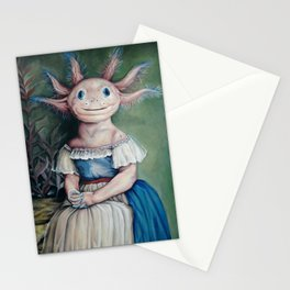 Victorian Axolotl Painting (fine art/original oil painting) Stationery Cards