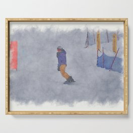 Sliding into Home - Winter Snowboarder Serving Tray