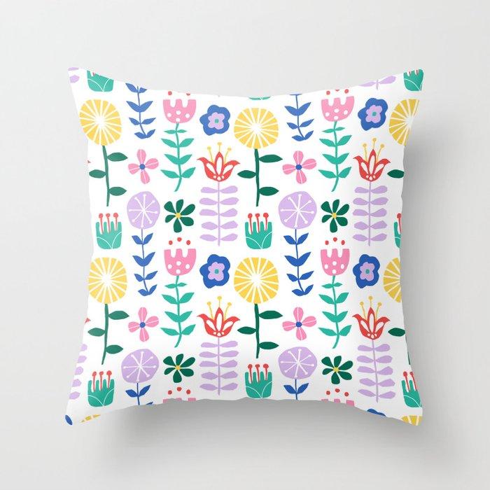 Scandinavian Vine Floral Throw Pillow