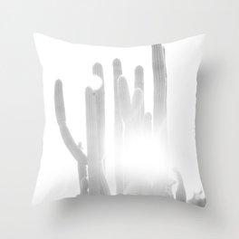Sun blazing through San Pedro Cactus Throw Pillow