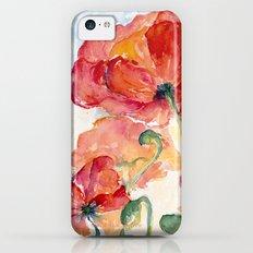 Tangerine Orange Poppy field WaterColor by CheyAnne Sexton iPhone 5c Slim Case