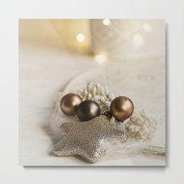 Merry Christmas- Festive Shiny Winter Stilllife Metal Print