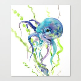 Underwater Scene Design, Octopus Canvas Print