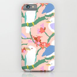 Kookaburra Birds + Little Kurrajong Flowers iPhone Case