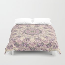 47 Wisteria Circle - Vintage Cream and Lavender Purple Mandala Duvet Cover