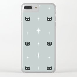 Mid Century Cats and Starburst Pattern Clear iPhone Case