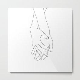 Holding hands illustration - Elana White Metal Print