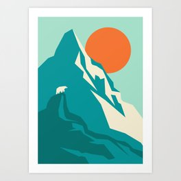 As the sun rises over the peak Art Print