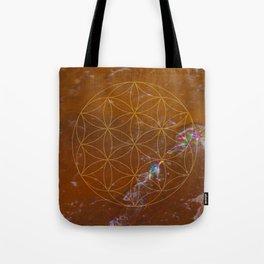 Orange Calcite // Flower of Life Tote Bag