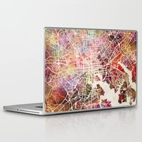 baltimore Laptop & iPad Skins featuring Baltimore map by MapMapMaps.Watercolors