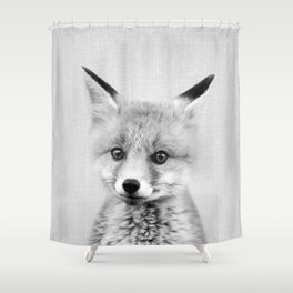 Baby Fox - Black & White Shower Curtain