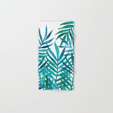Watercolor Palm Leaves on White Hand & Bath Towel