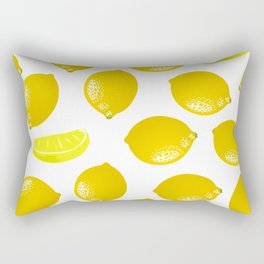 Lemon Pattern Home Decor Wall Hanging Art Print Modern Graphic Design Yellow White Interior Rectangular Pillow