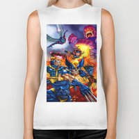 x men Biker Tanks featuring X - MEN by Vincent Trinidad
