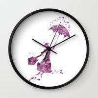 mary poppins Wall Clocks featuring Mary Poppins Disneys by Carma Zoe
