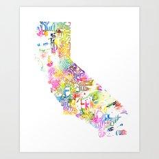 Typographic California - Multi Watercolor Art Print