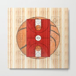 Red Basketball Court with Basketballs Metal Print