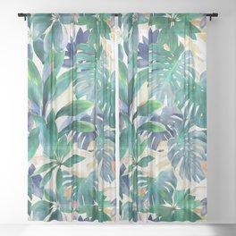 Golden Summer Tropical Emerald Jungle Sheer Curtain