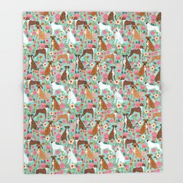 Boxer dog breed florals mint pastel turquoise cute pet portrait animal fur baby must have gifts  Throw Blanket