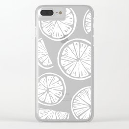 Citrus Wheels - Blue and White Clear iPhone Case