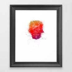 Rainbow Splatter Skull Framed Art Print