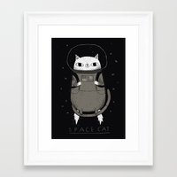 space cat Framed Art Prints featuring space cat by Louis Roskosch
