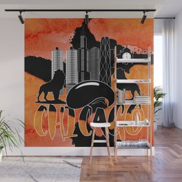 Chicago Iconic Landmarks Abstract Cityscape Wall Mural