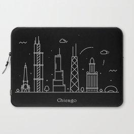 Chicago Minimal Skyline Drawing Laptop Sleeve