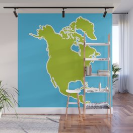 North America Map Green continent on blue background. Vector illustration Wall Mural