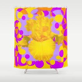 Modern Yellow Iris Purple Patterns Flowers art Shower Curtain