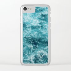 Blue Ocean Waves Clear iPhone Case