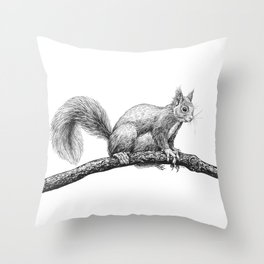 Squirrel drawing Throw Pillow