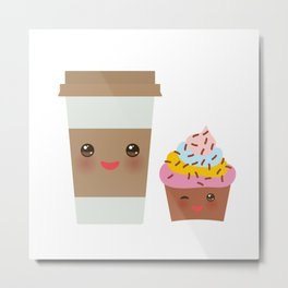coffee in Paper thermo cup with brown cap and cup holder, chocolate cupcake. Kawaii Metal Print