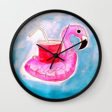 Flamingo Pool Party Wall Clock