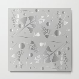 Vector pattern from silver black plants and grass blades on a gray background in vintage style. For Metal Print