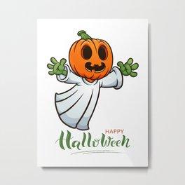 Drawn Ghosts And Pumpkins Set, Happy Halloween, Design No 03 Metal Print
