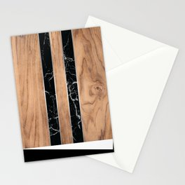 Striped Wood Grain Design - Black Granite #175 Stationery Cards
