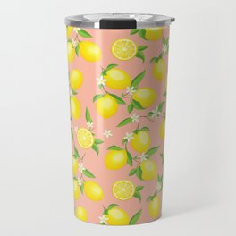 You're the Zest - Lemons on Pink Travel Mug