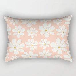 Floral Daisy Pattern - Peach Pink Rectangular Pillow