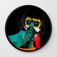 mask Wall Clocks featuring Mask by Alvaro Tapia Hidalgo