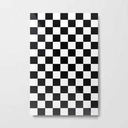 Checkered Pattern Black and White Metal Print