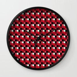 Ruby Lipstick Blocks, Checkered Pattern - Red Wall Clock