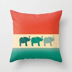 Three Elephants - Burnt orange, cream & teal Throw Pillow