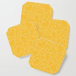 Mustard Yellow and White Hand Drawn Hearts Pattern Coaster