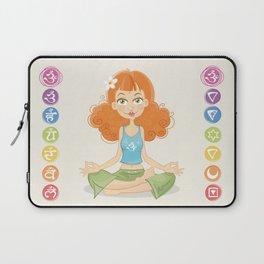 Smiling Girl practising Yoga Lotus Pose Laptop Sleeve