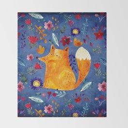 The Smart Fox in Flower Garden Throw Blanket