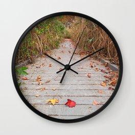Autumn Marsh Boardwalk Wall Clock