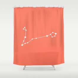 Pisces Zodiac Constellation - Coral Red Shower Curtain