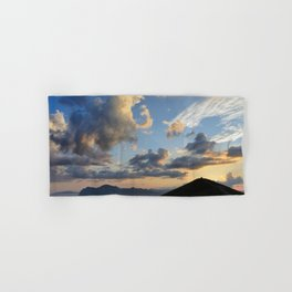 mountains and sea at sunset Hand & Bath Towel